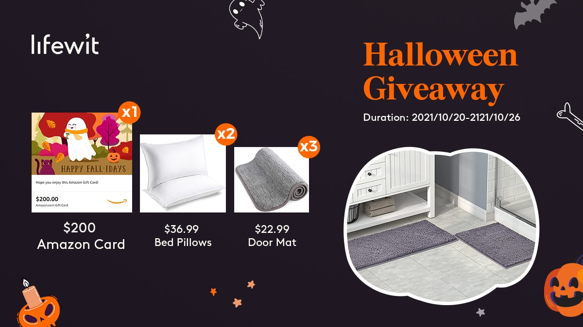 Halloween Giveaway! 1 x 200$ Amaozn gift card, 2 � Lifewit queen size bed pillow and 3�Lifewit doormat to 6 winners!!! Giveaway Image
