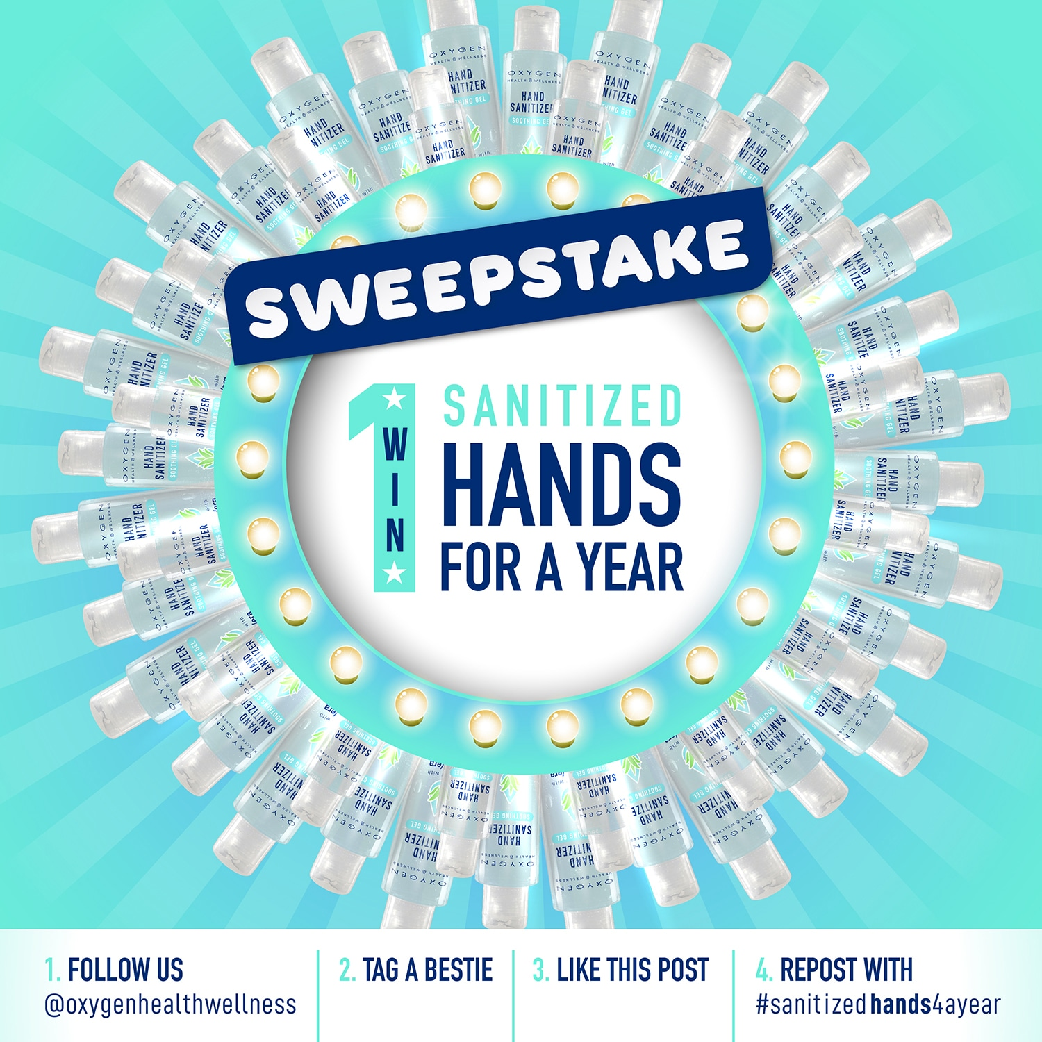 Enter to win 48 bottles of 5oz Hand Sanitizer Soothing Gel and 2 Dispenser Boxes of Hand Sanitizer Sachets from Oxygen Health and Wellness. 5 Winners! Giveaway Image