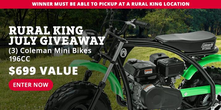 Rural King July Giveaway ~ Win a Coleman Black/Green Mini Bike 196cc [a $699 value] - 3 Winners! Giveaway Image