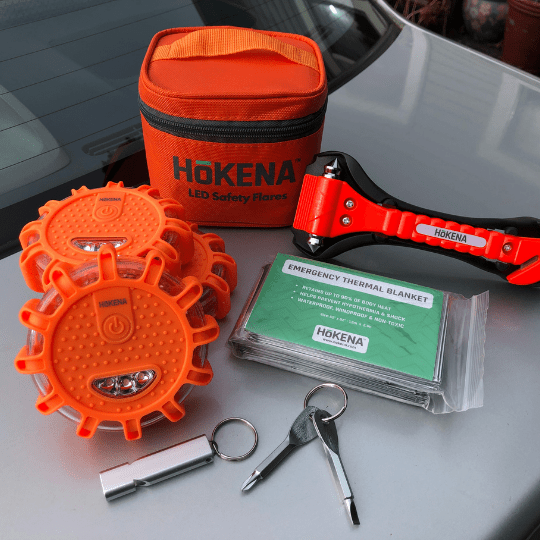 Enter to win a LED Road Flare Emergency Kit 3-Pack that contains flares, emergency blankets, seatbelt cutter/window breaker, and more. 5 Winners! Giveaway Image