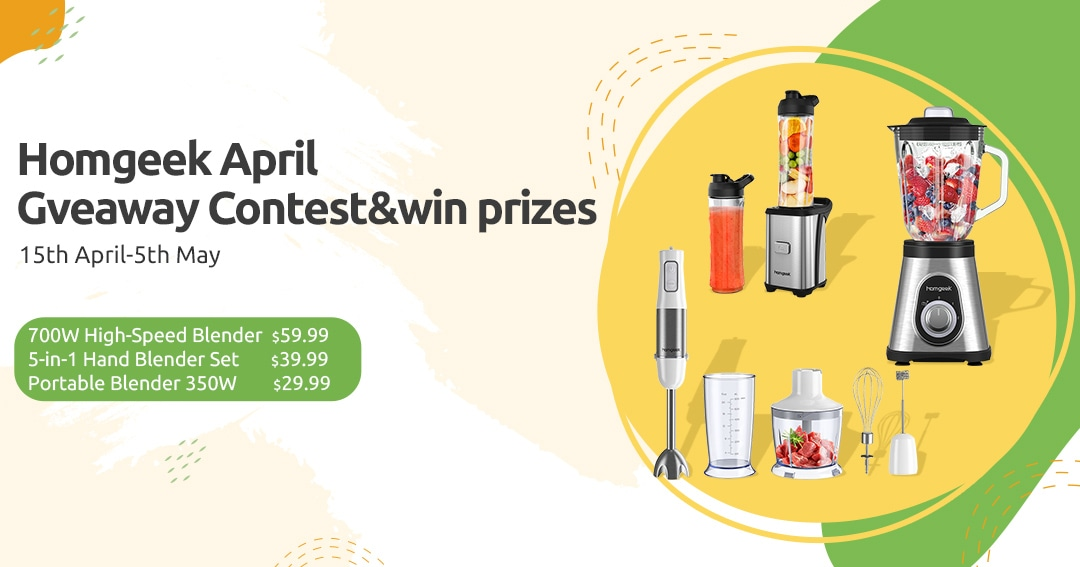 Homgeek 700W High-Speed Blender X2, Homgeek 5-in-1 Hand Blender Set X2 and Homgeek 350W Portable Blender X2. Homgeek's April Giveaway Competition Giveaway Image
