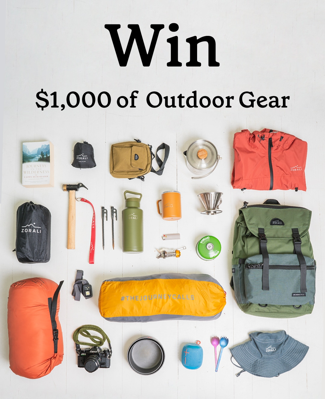 Win a $1,000 Zorali's Ultimate Outdoor Gear Giveaway Giveaway Image