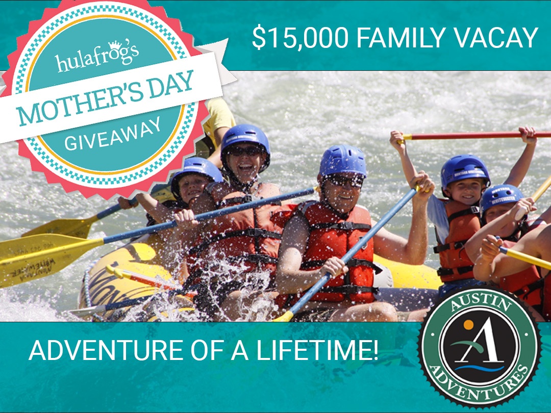 Hulafrog's Mother's Day Giveaway-1 win the Ultimate Yellowstone Family Vacation! Hulafrog is giving away a once-in-a-lifetime family vacation for six days and five nights that includes plenty of adventures with time to relax and recharge. This is up to a Giveaway Image