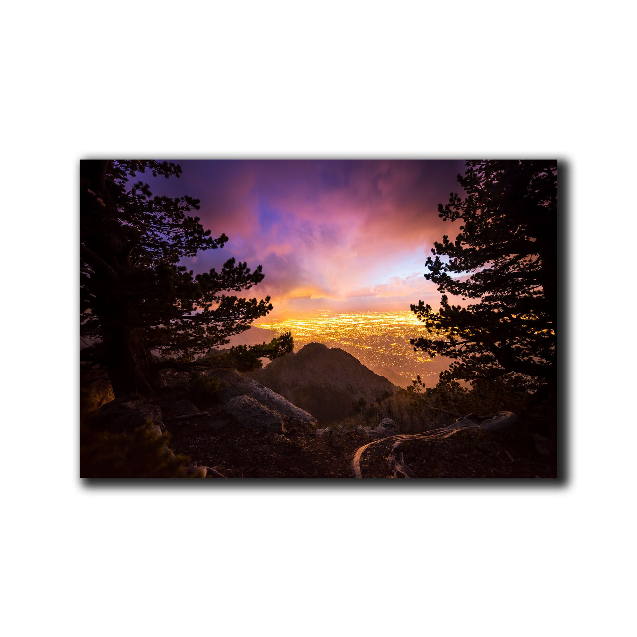 Enter to win a 20 x 30 Print Canvas of Sunset Over ABQ by Knate Myers. A $300 Value. Giveaway Image