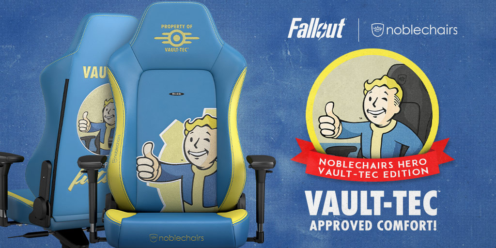 Enter to win an Officially Licensed Noblechairs HERO Vault-Tec Gaming Chair Giveaway Image