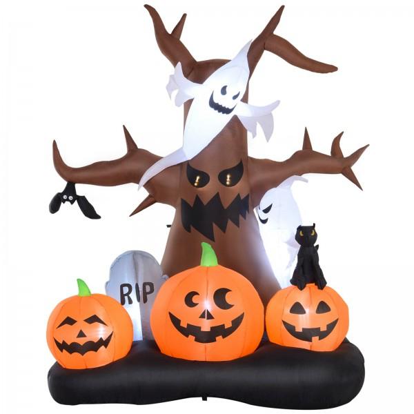 Homcom 8' Lighted Inflatable Outdoor Halloween Yard Decoration - Spooky Dead Tree