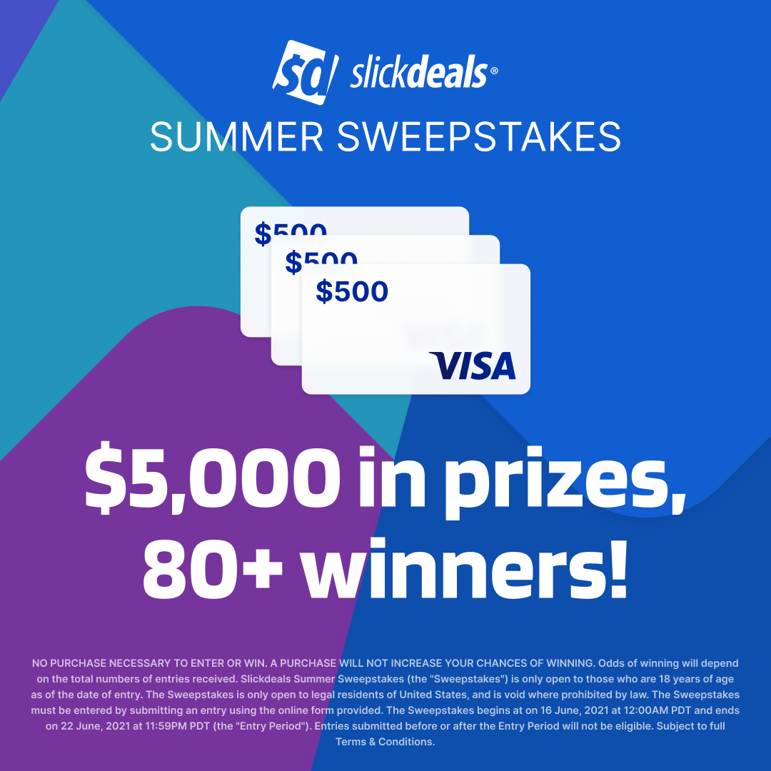 Slickdeals Summer Sweepstakes - Win a $500, $250, $50 or $25 Visa gift card - 87 winners! Giveaway Image