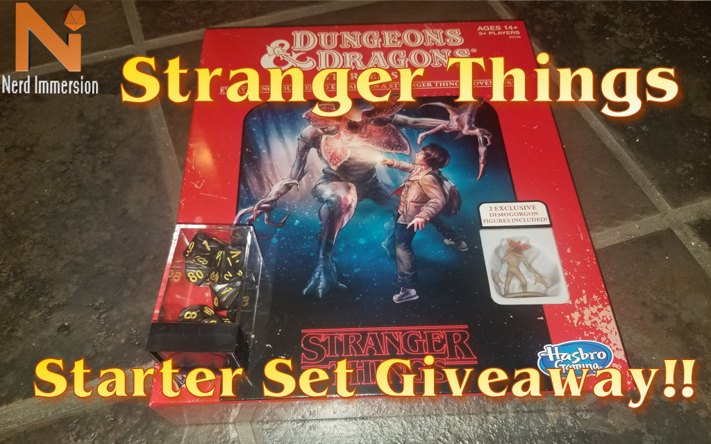 Enter for a chance to win a copy of Stranger Things Dungeons & Dragons Game Starter Set and a set of 7 polyhedral dice! Giveaway Image