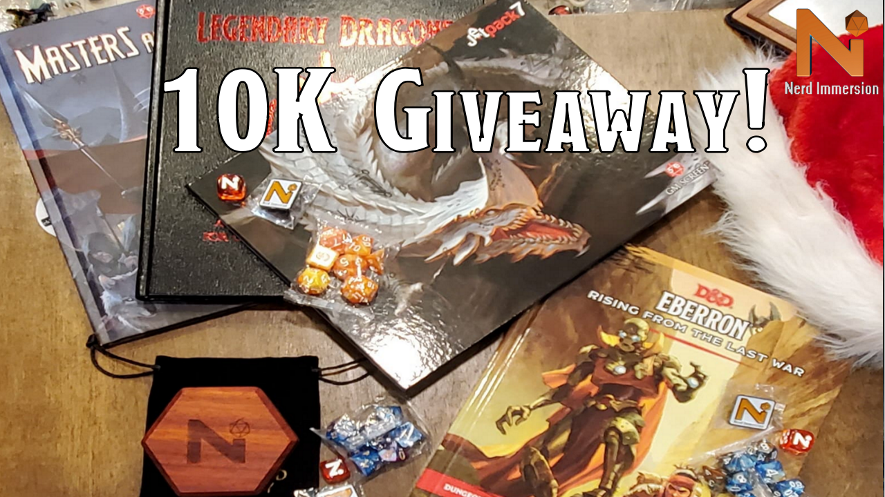 Enter to win a limited edition copy of Masters & Minions, Legendary Dragons, the Legendary Dragons DM Screen and a set of 7 polyhedral dice. 3 Winners! Giveaway Image
