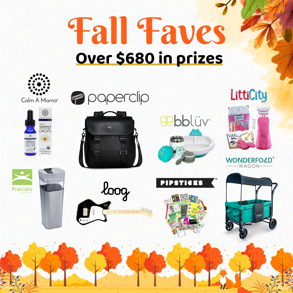 Fall Faves Giveaway! Win over $680 in prizes for Mama and kids! Includes double stroller wagon, organic sleep drops, thermal food container and warm feeding plate, diaper bag, and more! Giveaway Image