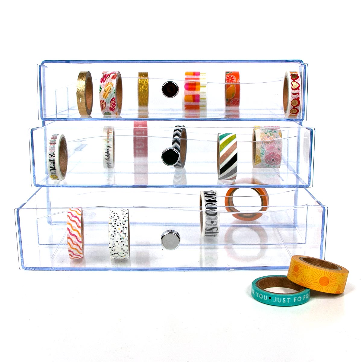 Enter into Blitsy's Weekly Craft Giveaway for a chance to win the clear Defelcto Washi Tape Storage Cube! Giveaway Image