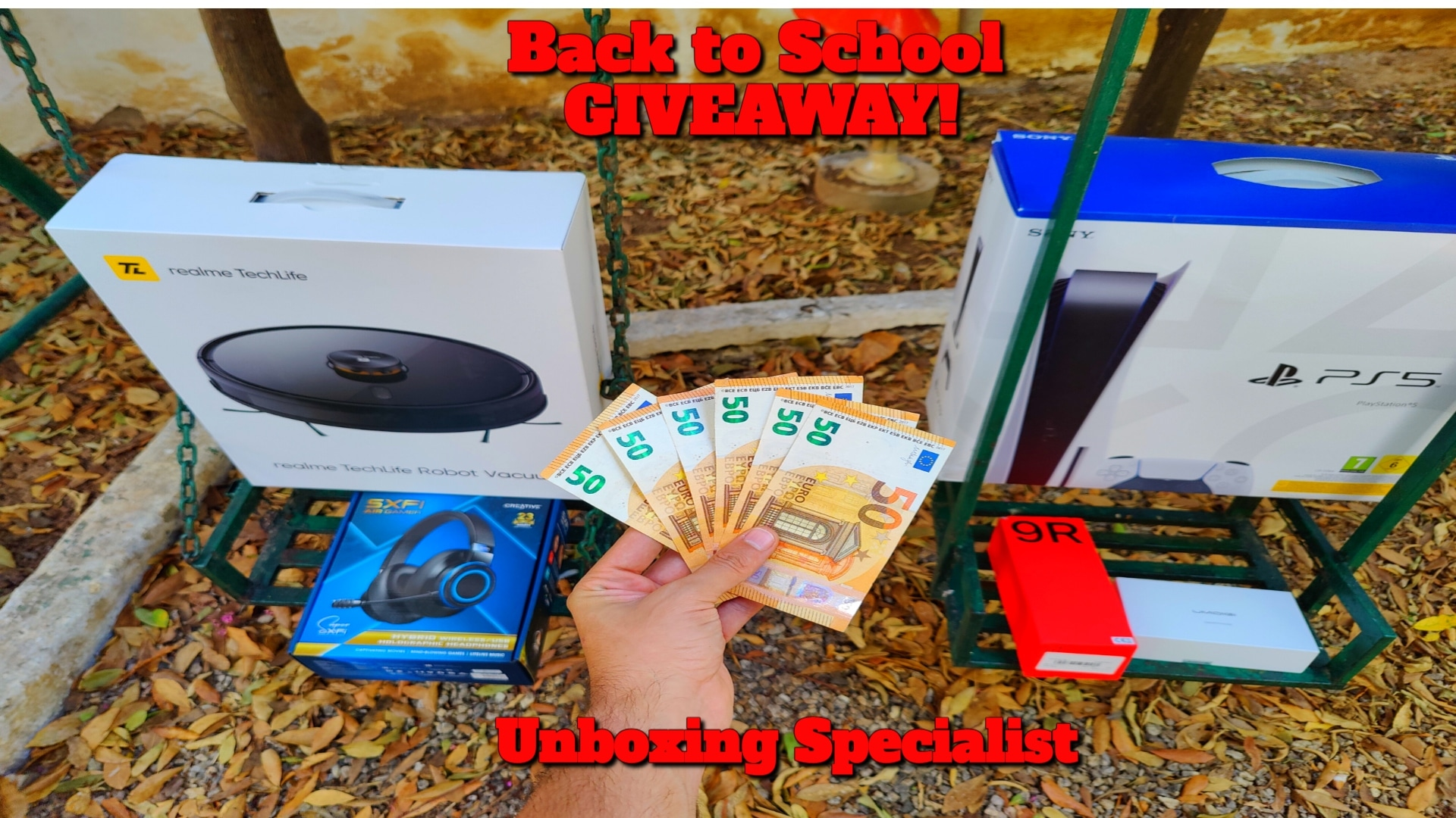 Playstation 5 + 2 Games, Oneplus 9R, Realme TechLife Robot Vacuum Cleaner, Umidigi Byson, Creative SXFI AIR GAMER and 50� Giveaway Image