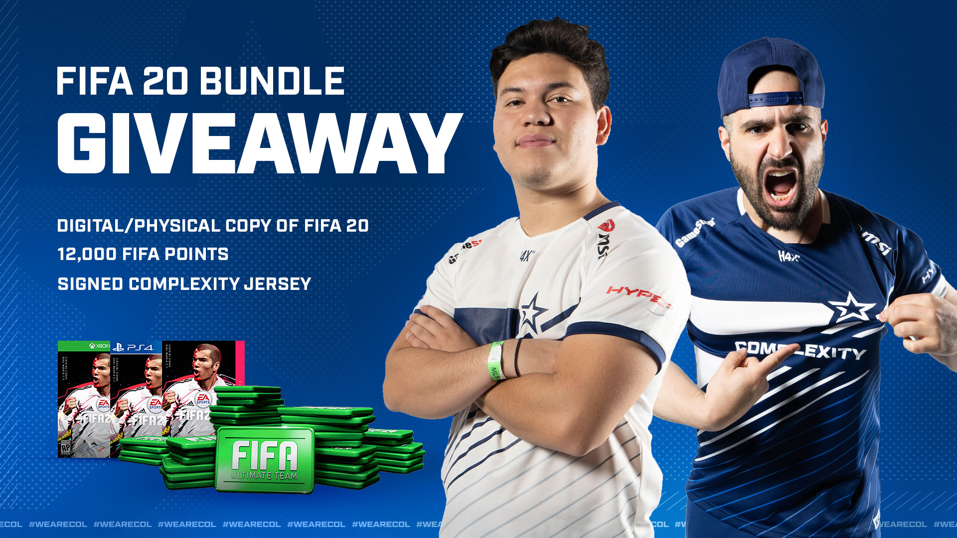 Enter for a chance to win a digital/physical copy of FIFA 20, 12000 FIFA points, and a Complexity jersey! Giveaway Image