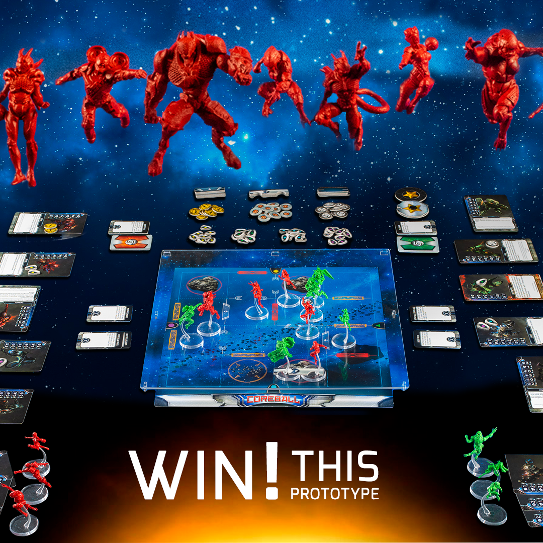 Win a prototype of the new board game Coreball including custom resin minis Giveaway Image