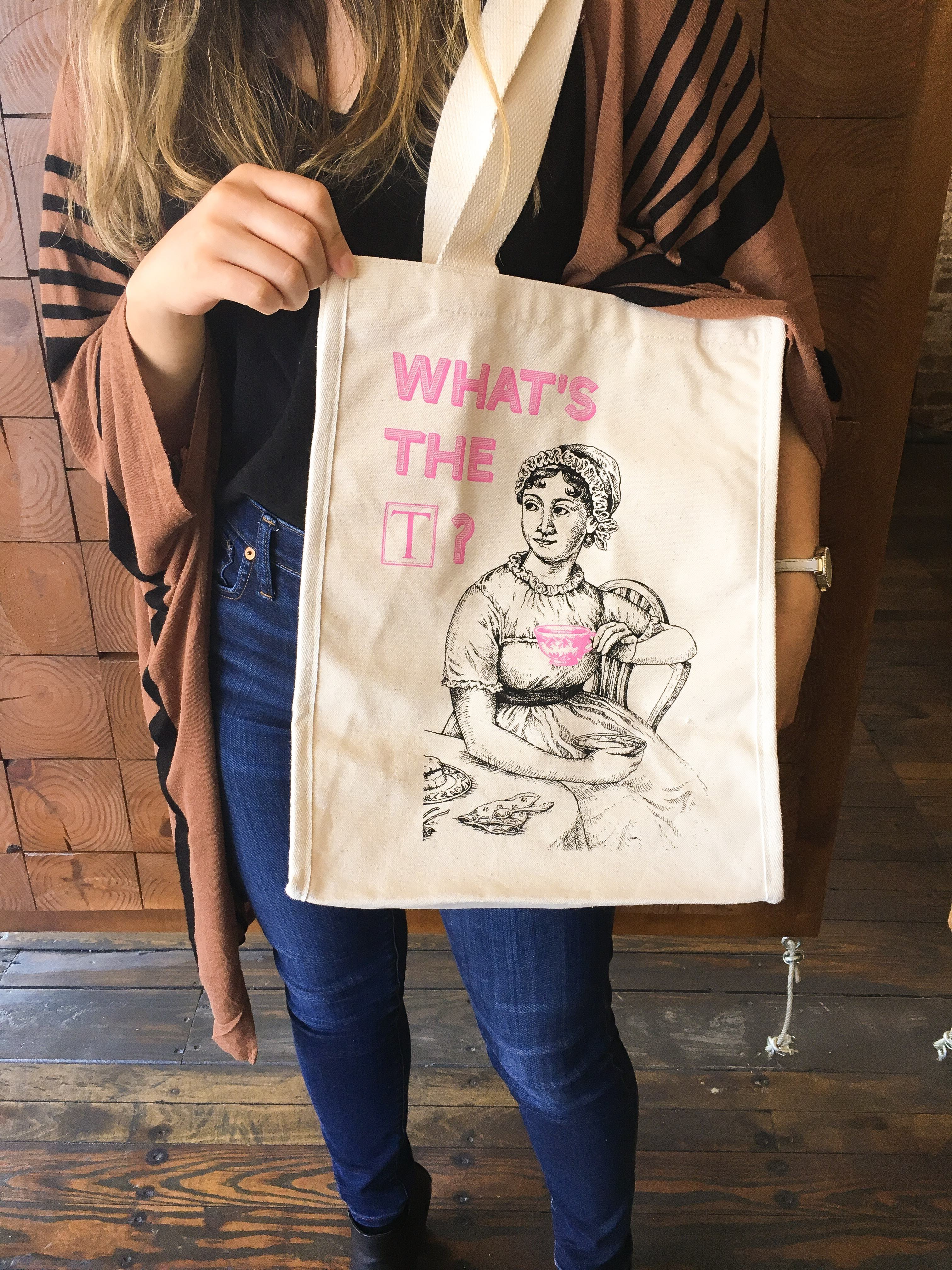 """Enter for a chance to win a Jane Austen-themed """"What's the T?"""" tote bag! Giveaway Image"""