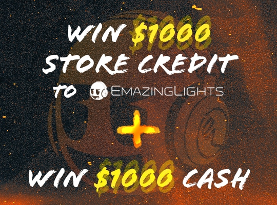 Enter for a chance to win a $1,000 store credit to EmazingLights.com plus a $1,000 Visa gift card. Giveaway Image