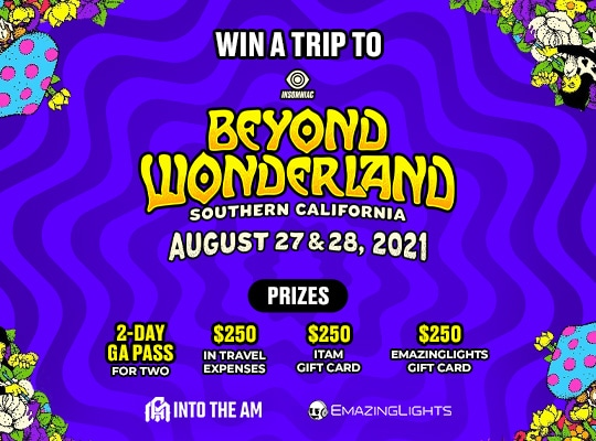 Enter for a chance to win a pair of 2-Day GA passes to Beyond Wonderland in southern CA, a $250 EmazingLights gift card, a $250 Into the Am gift card and $250 for travel expenses Giveaway Image
