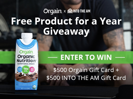 Win $500 INTO THE AM Gift Card and $500 Orgain Gift Card Orgain X INTO THE AM Giveaway Giveaway Image