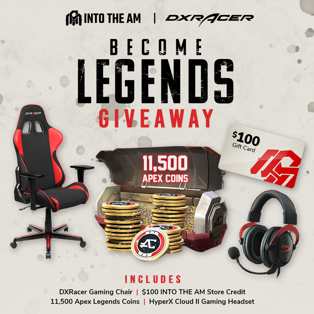 DXRacer Gaming Chair, HyperX Cloud II Gaming Headset, $100 INTO THE AM Store Credit and 11,500 Apex Coins Giveaway Image