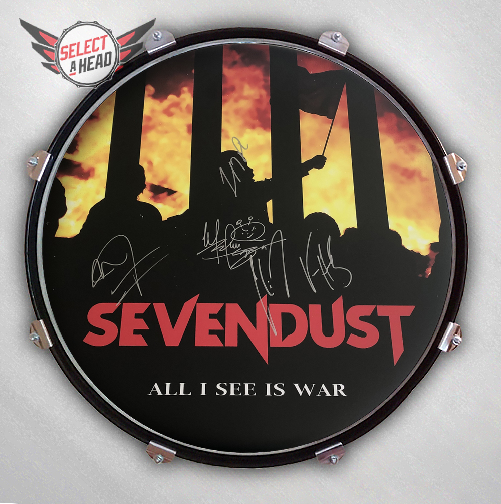 Enter To Win One Of Three Signed 22 Inch Sevendust All I See Is War Drum Displays!