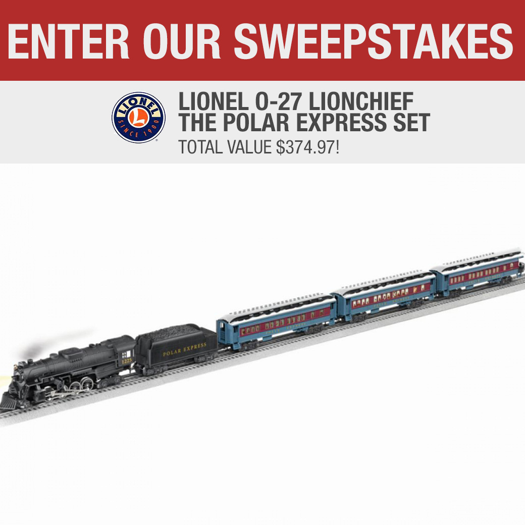 Win a Lionel O-27 LionChief The Polar Express Train Set� Kit with the approximate retail value of $419.99. Giveaway Image