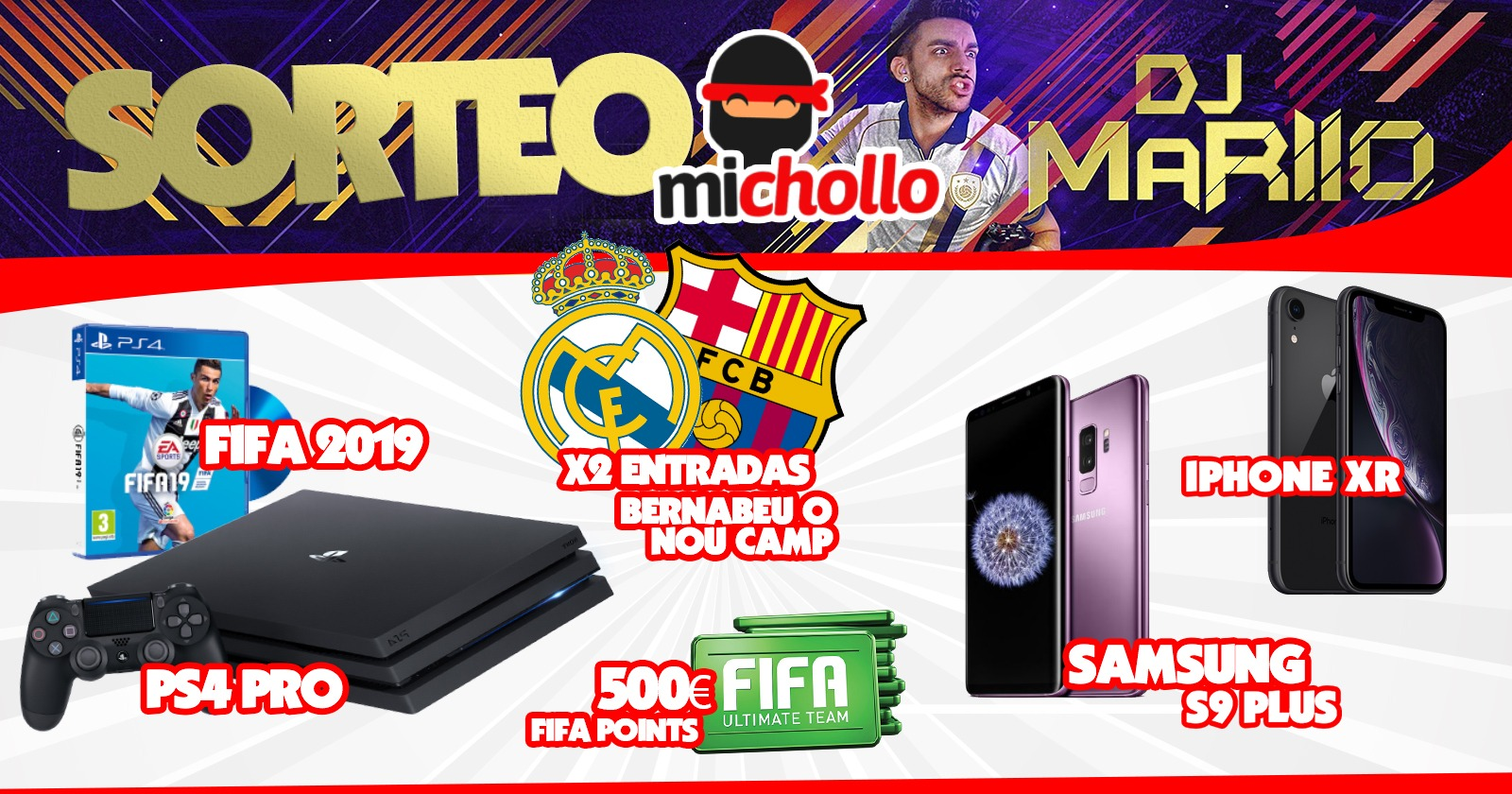 iPhone XR, Samsung Galaxy S9+, PS4 Pro, Fifa 2019, Tickets x2 BCN-RMD Giveaway Image