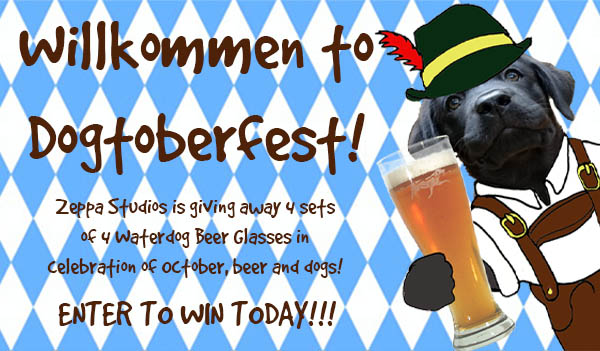 Enter to win a Set of 4 Waterdog Pilsner or Pint Glasses. 4 Winners! Grand Prize is a $150 Zeppa Studios Shopping Spree.  See the extensive list of ineligible nations Giveaway Image