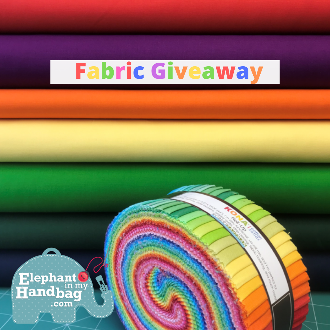 "Enter to win Kona Jelly Roll of Fabric and 7 Fat Quarters each being 10.8"" x 20"" from Elephant in my Handbag Online Store. Giveaway Image"