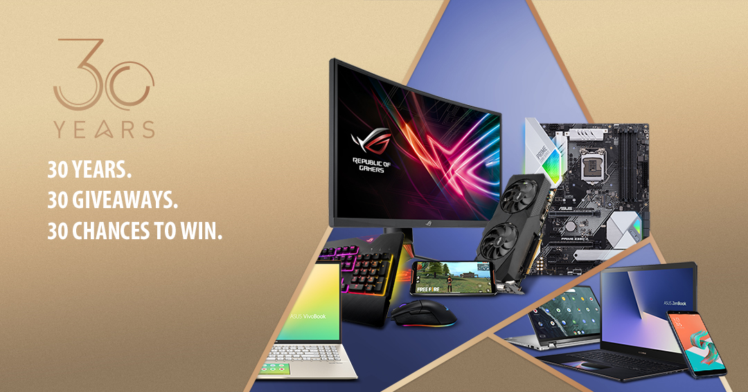 Win an Asus Zenbook Pro 15 gaming laptop $2,299, (2) Zenbook 14s 1,199, Zenbook S $1,499, or other laptops, monitors, mother boards, graphics cards, and much more! 30 winners! $16,358 total MSRP!! Giveaway Image