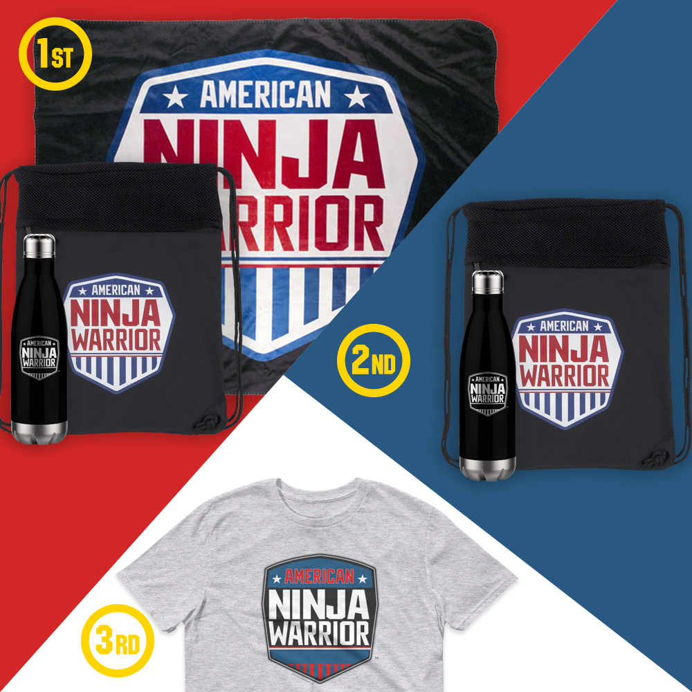 Enter for a chance to win American Ninja Warrior Cinch Backback, 17Oz Stainless Steel Slim Water Bottle and Sherpa Blanket from NBC Store! 3 Winners! Giveaway Image