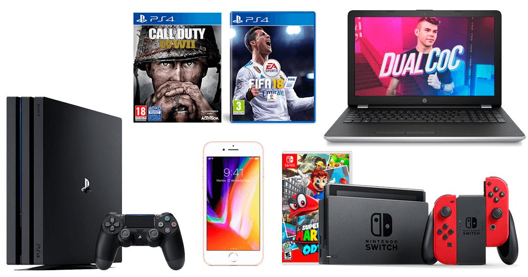 Win HP laptop, Sony PS4 Pro, Nintendo Switch console, Apple