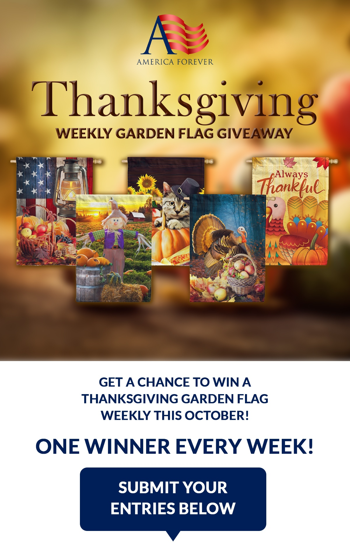 America Forever Thanksgiving Flag Weekly Giveaway  Non-US Winners will be responsible for the shipping fees Giveaway Image