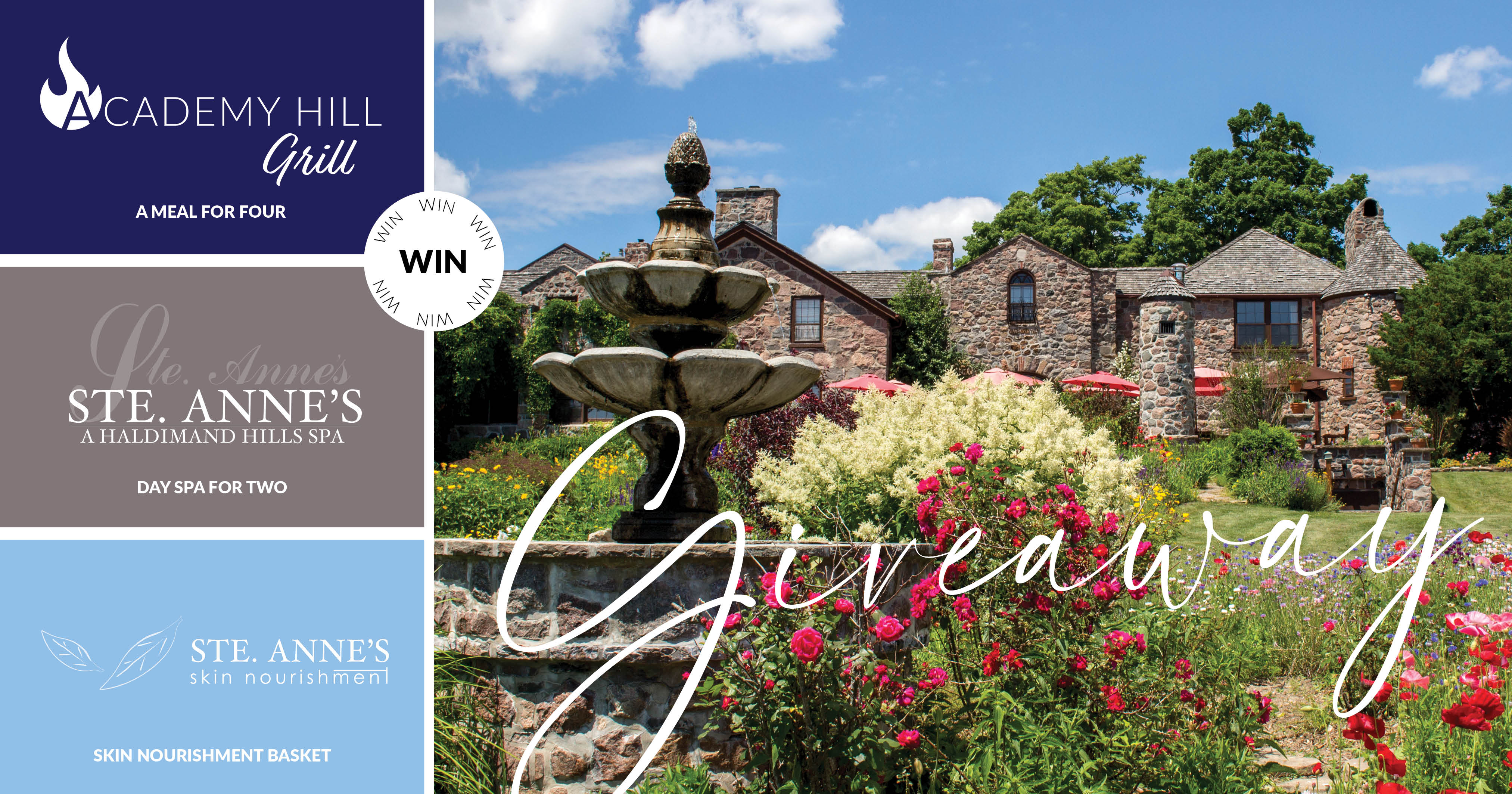 Enter for your chance to win� FROM ST ANNES SPA! � Four Meals to Academy Hill Grill � Day Spa for two at Ste. Anne�s Spa � Gift Basket from Skin Nourishment Giveaway Image