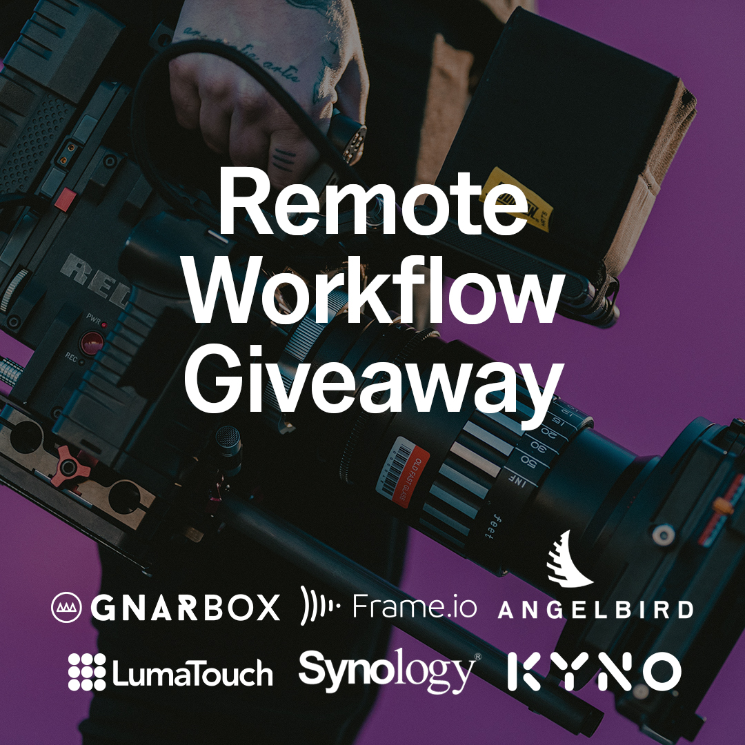 GNARBOX 2.0 SSD (1TB) Synology DS918+ Seagate 2x Iron Wolf HDDs (4TB) Angelbird 1x SSD2GO PKT (1TB) Angelbird CFast 512GB + CFast Reader Frame.io 1-yr Free Subscription Kyno Premium License LumaFusion + Storyblocks License Giveaway Image