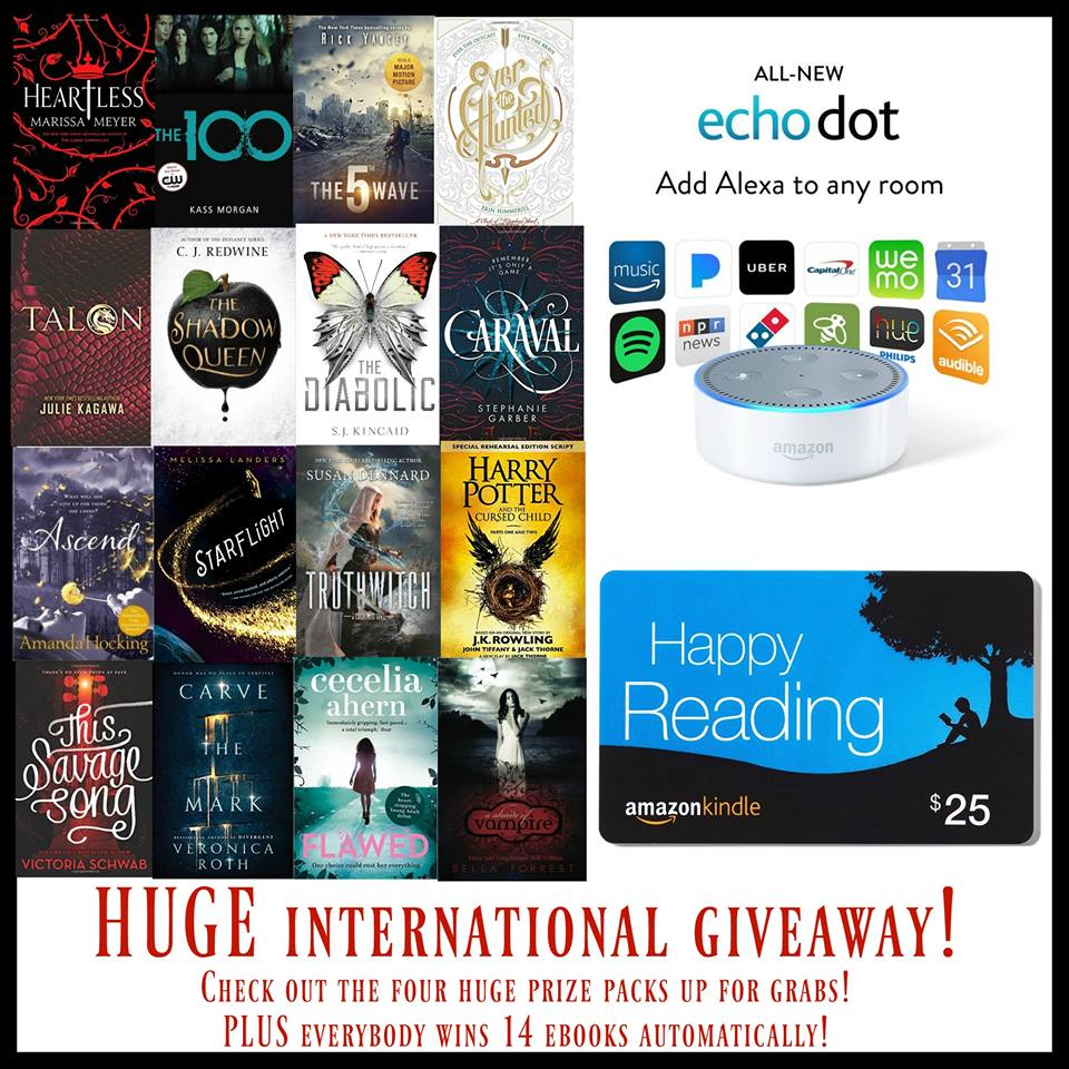 HUGE International YA Giveaway with Amazon Echo Dot + everyone wins 14 FREE ebooks!!