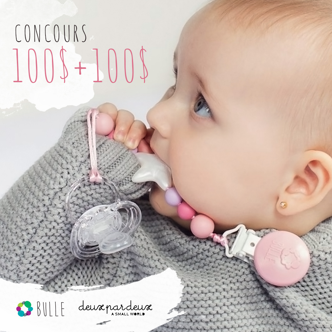 2 Winners--Win $100 gift card from BULLE Baby Accessories + $100 gift card from Deux par Deux clothing. Giveaway Image
