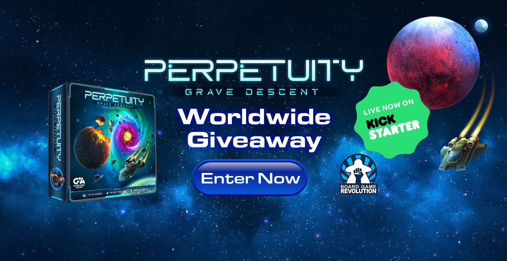 """Win """"Perpetuity: Grave Descent"""" Sci-fi Exploration Board Game Giveaway Image"""