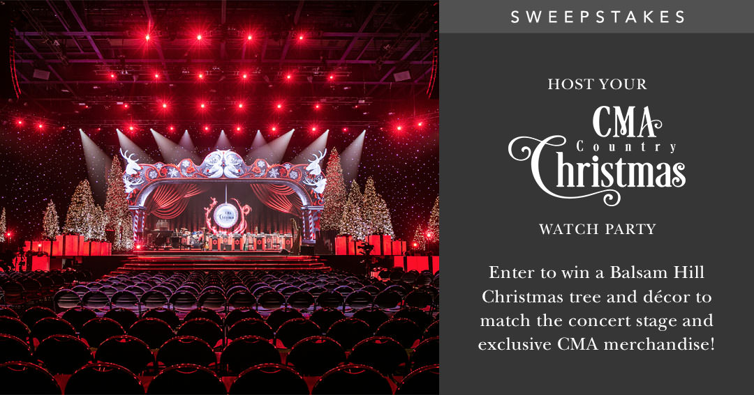 Ring In the Holidays with CMA Country Christmas® and Balsam Hill Sweepstakes - Wina Balsam Hill Christmas Tree and decorating package, as well as exclusive CMA merchandise! Giveaway Image