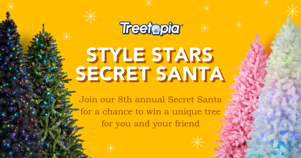 Treetopia�s Style Stars Secret Santa Giveaway! Choose 6.5' Mia Pencil Tree, 6.5' Portland Pine, 6' Toasted Champagne Gold Tinsel Tree, 8' Winter White Artificial Christmas Tree, OR 6' Lipstick Red Artificial Christmas Tree. Giveaway Image