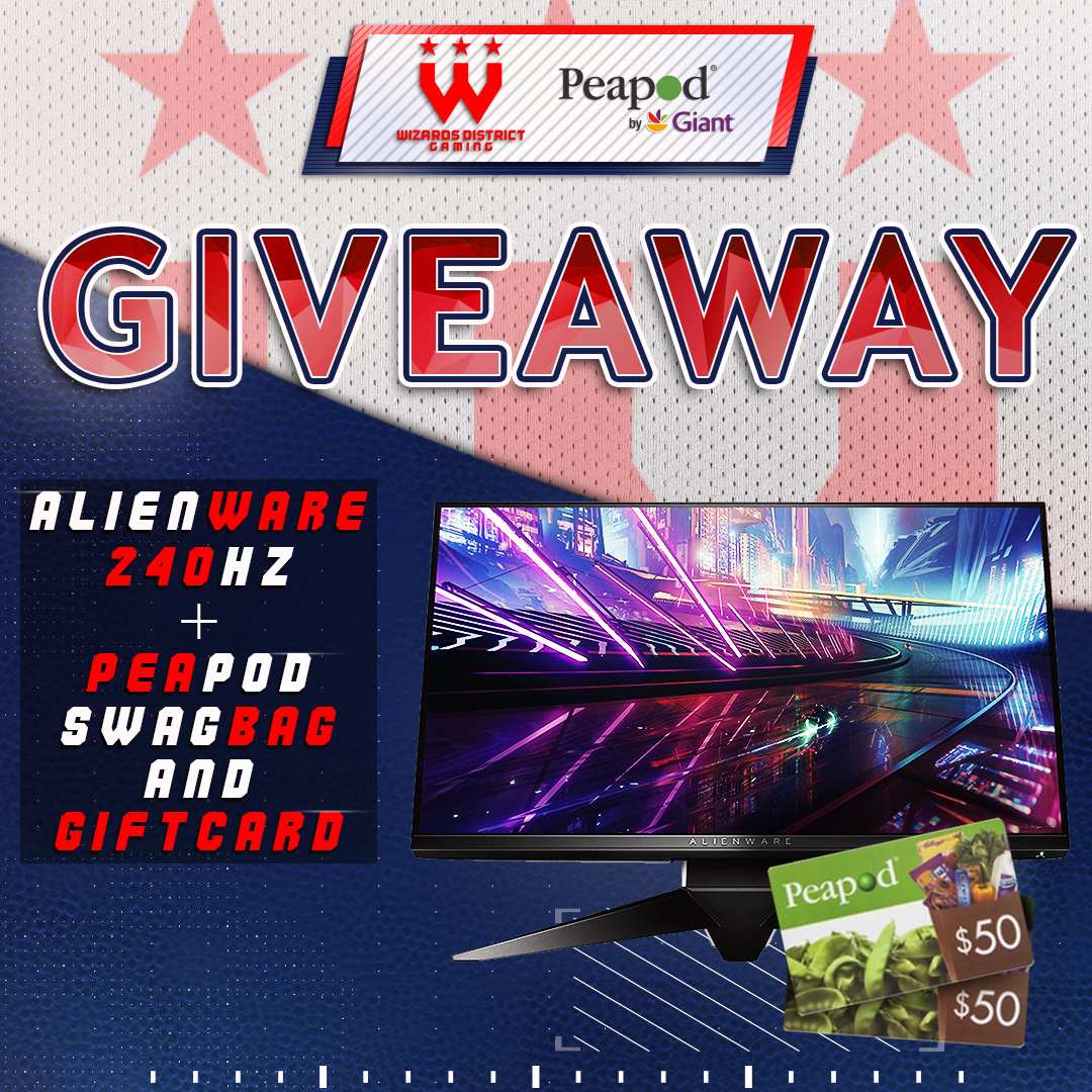 Wizards Alienware 25 Gaming Monitor, Peapod Swagbag & $100 Giftcard - May Giveaway - Giveaway Image