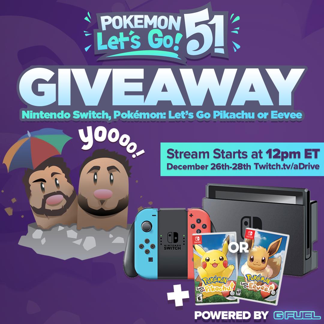 Nintendo Switch, & Pokemon: Let's Go Pikachu! or Eevee! Giveaway