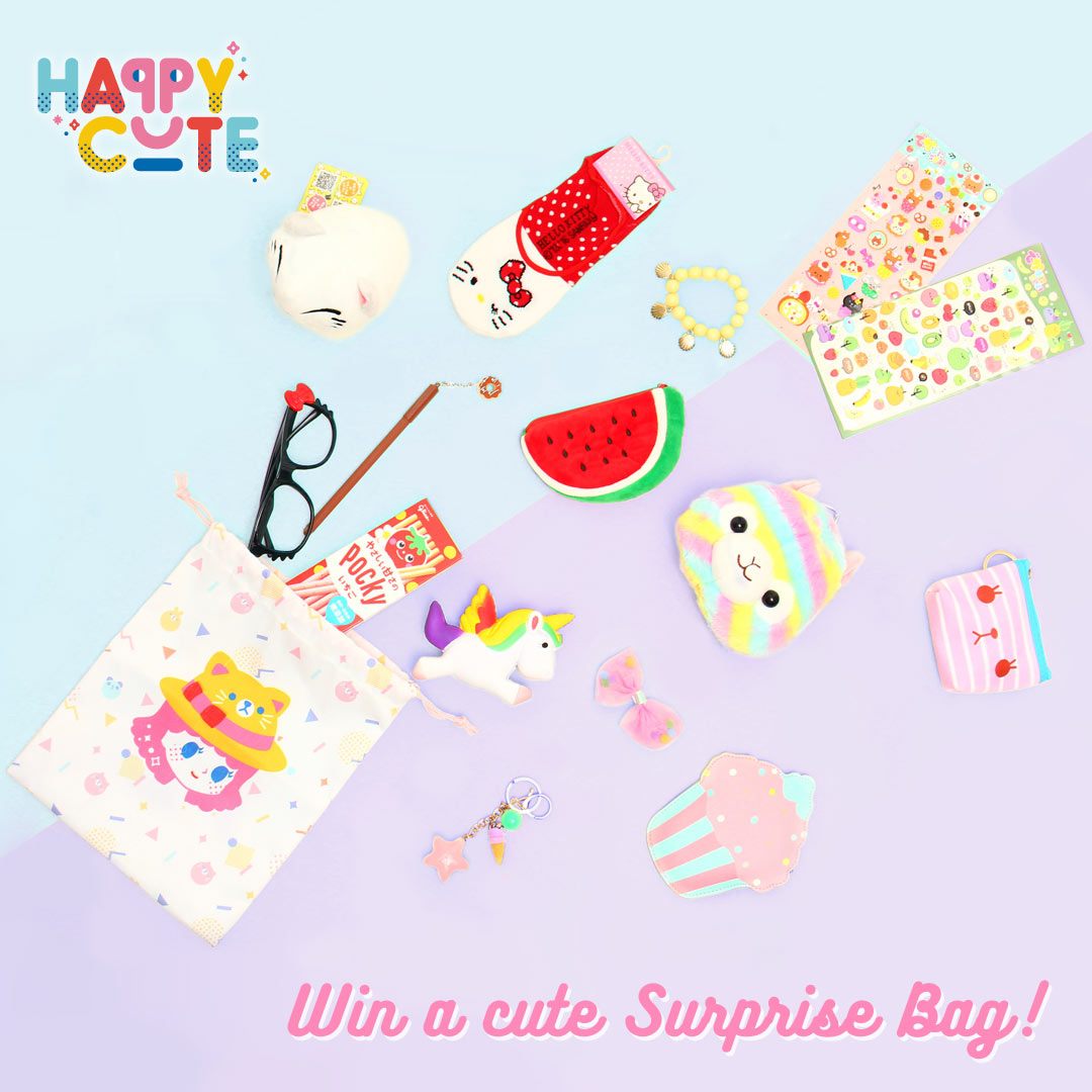 Enter for a chance to win a Happy Cute Surprise Bag filled with cute things! Giveaway Image