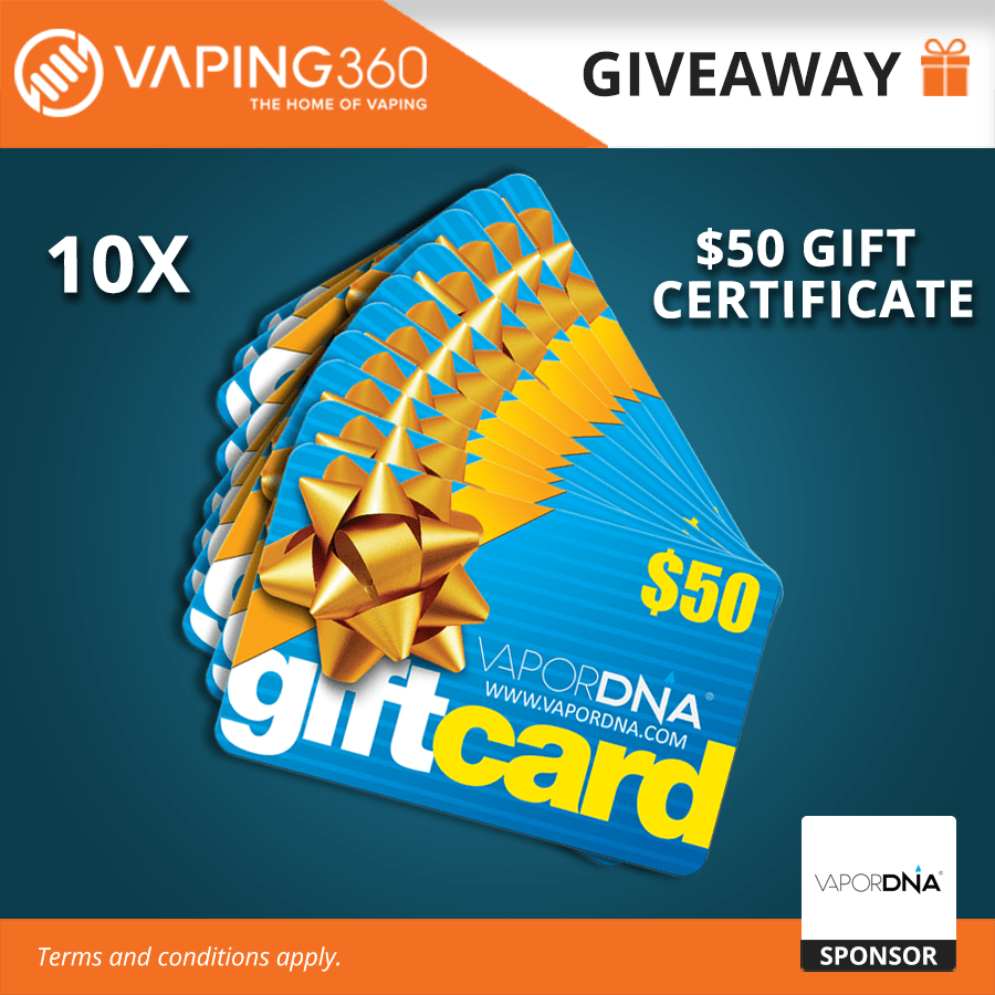10 x $50 VaporDNA Gift Certificate Giveaway Giveaway Image