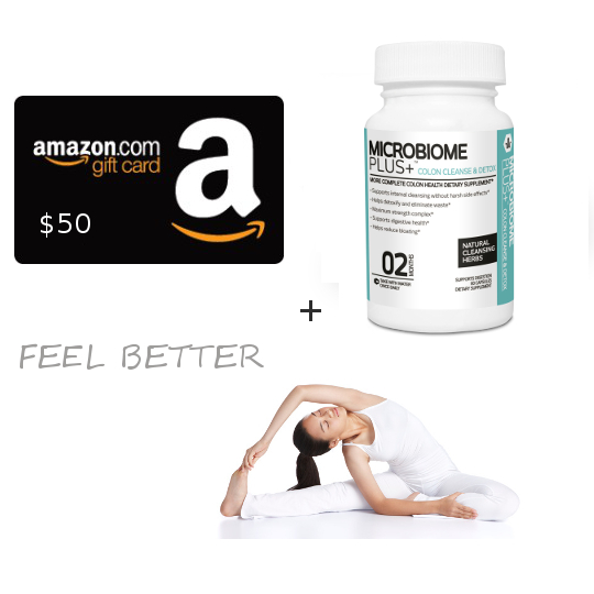$50 Amazon Gift Card and 3 Months of Microbiome Plus Colon Cleanse