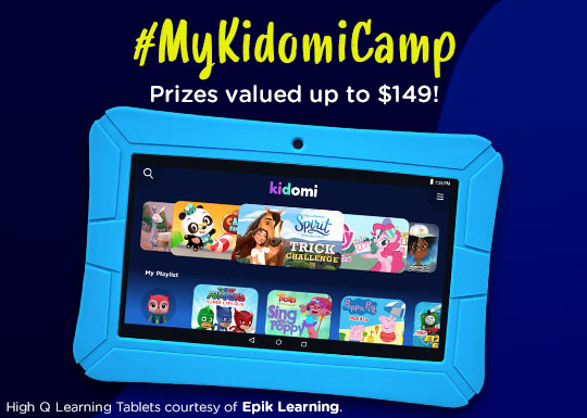 Enter to win a HighQ Tablet with one year subscriptions to Kidomi available on iOS, Android, and Amazon. 4 Winners! Giveaway Image
