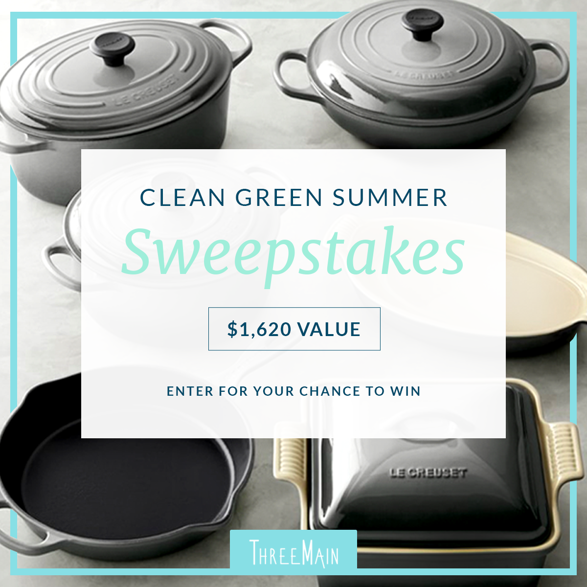 Win a Le Creuset Cast-Iron and Stoneware 10-Piece Set & Annual Blue Membership, 1 of 5 Blue Memberships or 1 of 5 Free Clean Green Starter Kits Giveaway Image