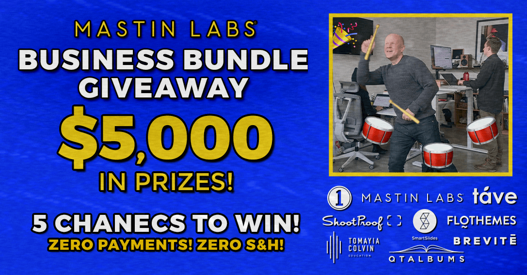 Enter to win a Mastin Labs Business Bundle for your photography business. A $5,000 Value!  If outside of the United States, you will win all the prizes except physical goods. Giveaway Image