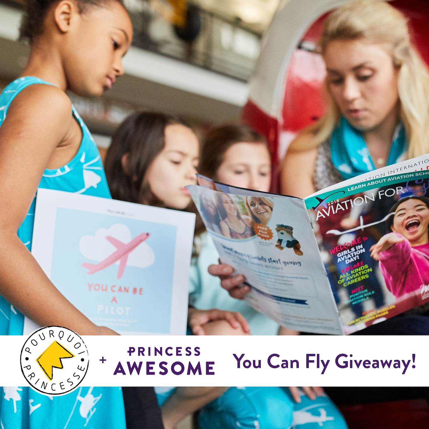 Win a Princess Awesome + Pourquoi Princesse Girls� Aviation Prize Pack Including a Princess Awesome Dress, Pourquoi Princesse Tee, Books, and Magazine  - US and Europe Giveaway Image