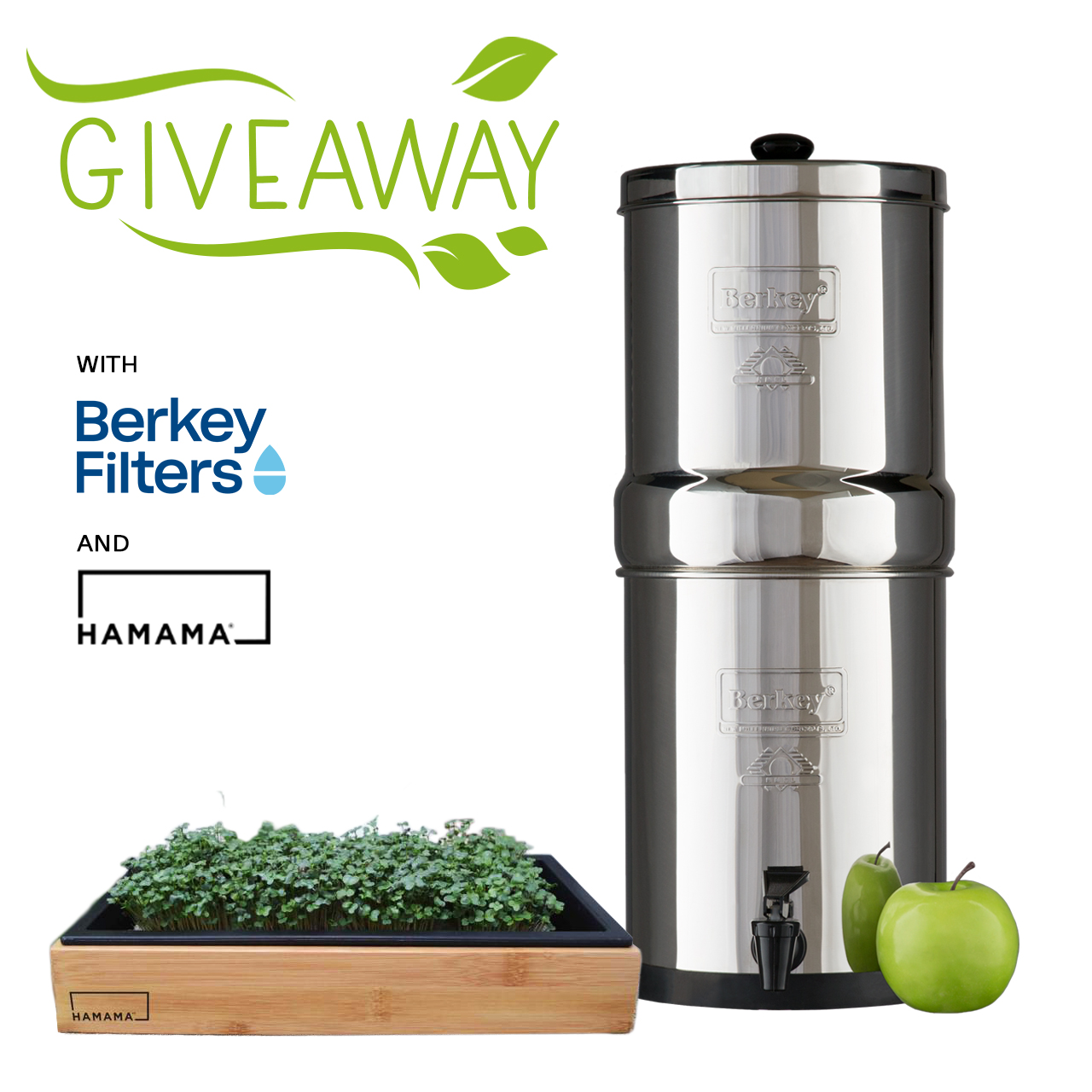 Enter into Travel Berkey & Hamama Micro Greens Giveaway for a chance to win Travel Berkey Water Filter System with two black filters, a Hamama grow kit & a Bamboo frame. Retails at $343! Giveaway Image
