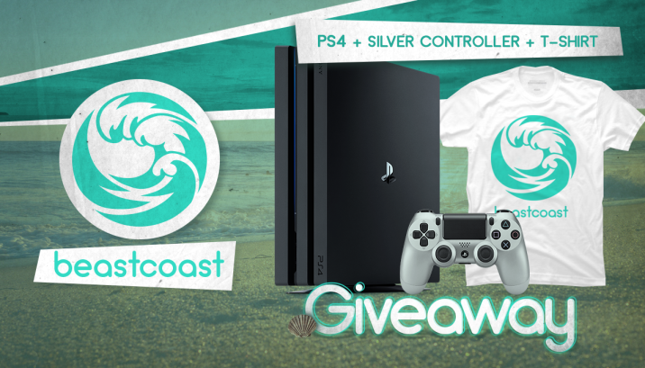 PS4 Console, Silver PS4 Controller, And beastcoast T-Shirt Giveaway